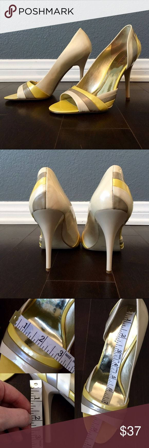 """Creamy metallic open toe half d'orsay heels Very lightly worn w/ no obvious defects. I'm US7 & when I wear them my toes are about 0.5 inch away from front edge, so these are great for folks that have long toes (I don't) or maybe a small size 7.5?? See measurement photos. About 3.5"""" tall so they're high enough to lengthen legs & flex calf muscles but not redonkulously impossible to walk in. Subtle metallic nude/yellow/taupe--not super yellow but more like honey mustard. I ordered online but…"""