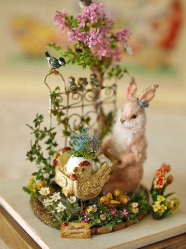 ||| season, Easter, Eostre, spring, vernal, equinox, miniature, diorama, clay, sculpture, garden, bunny, rabbit, Ostara, table, centrepiece, altar, decor, home