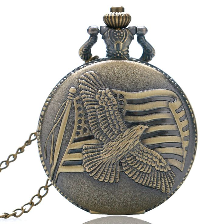 Antique Vintage Retro Bronze The Old Glory Pendant Necklace Quartz the Stars and the Stripes Pocket Watch
