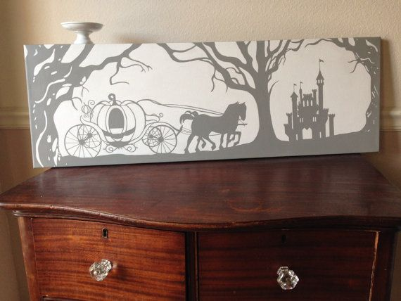 Cinderella Painting/Wall Hanging/Princess Painting/Silhouette Decoration/Cinderella Carriage Painting