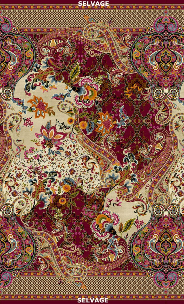 Timeless Treasures - Tivoli-CM4582-Multi Large Scale Paisley Floral – 24″ Repeat