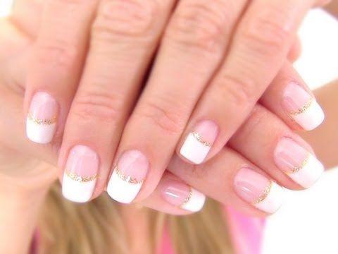 Gold Glitter French Manicure