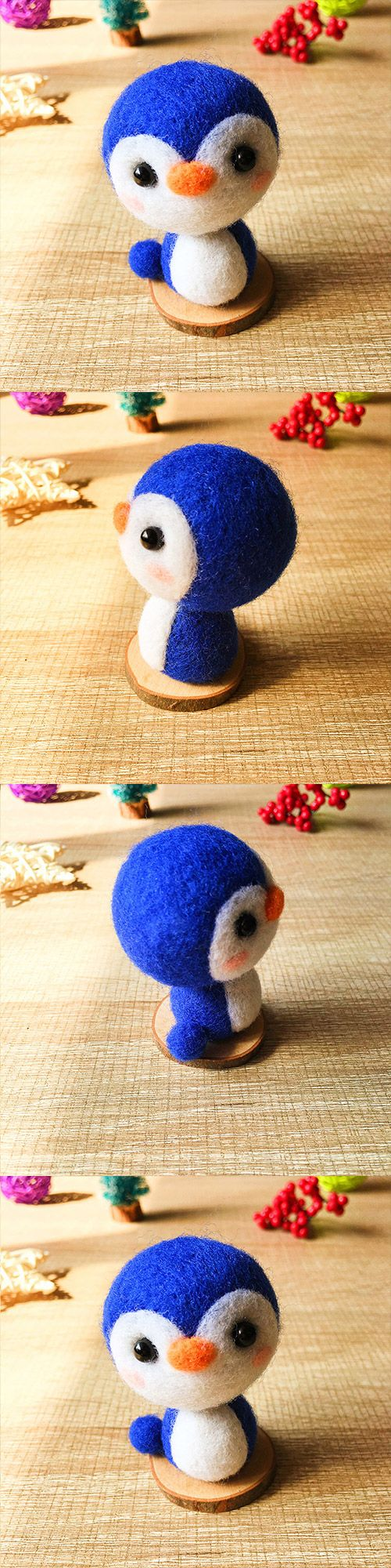 Handmade Needle felted felting kit project Animals Penguin cute for beginners starters