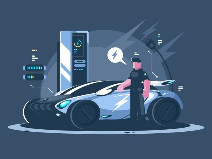 Electric car fuel station #illustration by @fritsler_anton181 for @kit8net You can buy this illustration at kit8.net  #flat #vector #icon #design #graphicdesign #ui #kit8 #forsale #car #transport #firetruck #emergency #electric #gasstation #greenenergy