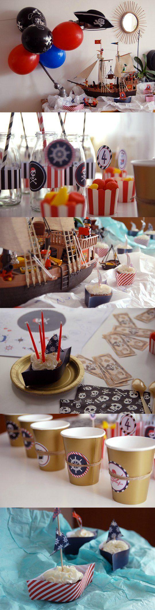Cumpleaños Pirata para imprimir gratis : Compartimos un kit imprimible gratuito para que puedas decorar tu fiesta de temática pirata. Con este descargable podrás crear una bonita guirnalda. Tambié