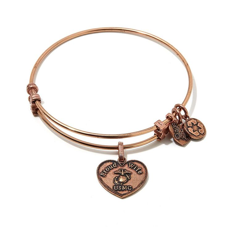 "Angelica Collection Angelica Proud Wife USMC 7"" Slide-Clasp Bangle Bracelet - Pink"