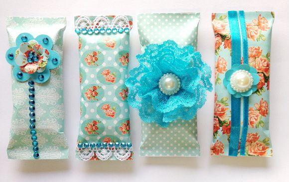 Chocolates floral azul shabby chic