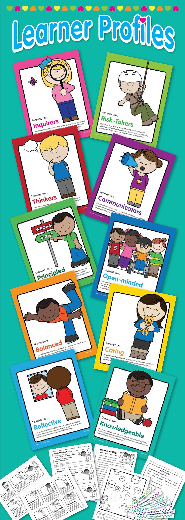 $2.99 Beautiful & Colorful Learner Profile posters for PYP IB classrooms and bulletin boards. This instant-download comes with feedback worksheets, certificates, and printable fun band wristbands.