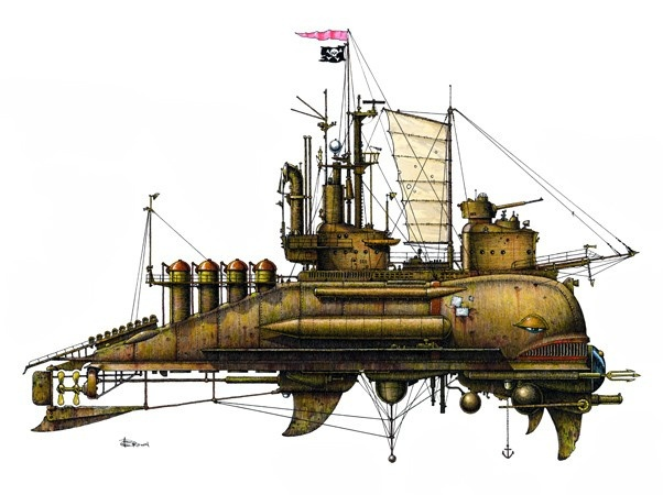 Fanciful Submarine by Andrew George Brown (1950-1982) | by j¤nesy, via Flickr | See also: http://www.etsy.com/shop/gingerbees?section_id=8006534