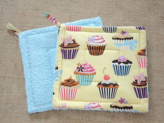 Blue Yellow Cupcakes Chenille Potholders by LoveVanillaRose