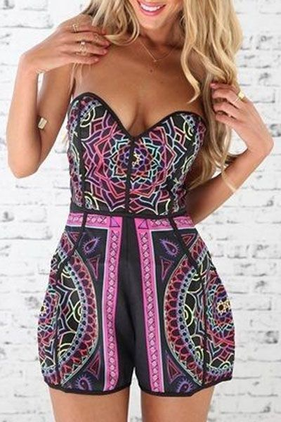 Geometric Print Strapless Playsuit: Jumpsuits & Rompers | ZAFUL