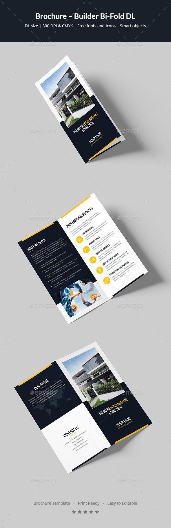 Builder Bi-Fold DL Brochure Template PSD
