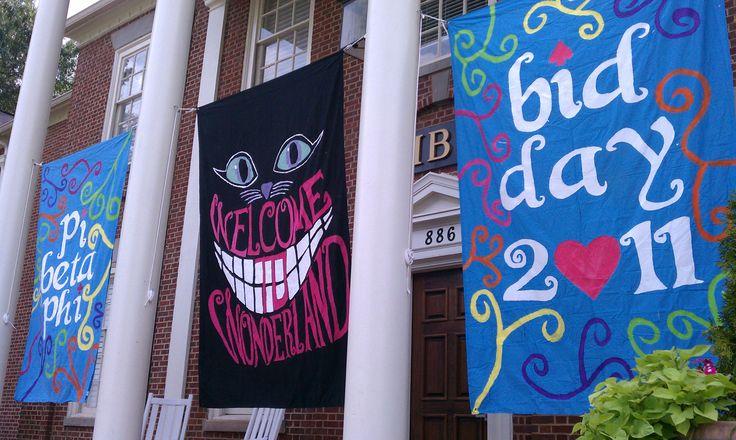 Welcome to Wonderland.: Wonderland Theme, Bid Day Themes, Alpha Phi, Alice In Wonderland, Recruitment Ideas, Chi Omega, Bidday, Banners, Wonderland Bid