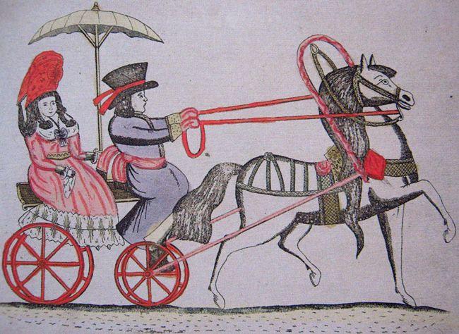Езда на дрожках. Дама с зонтиком. Лубок. XVIII в.