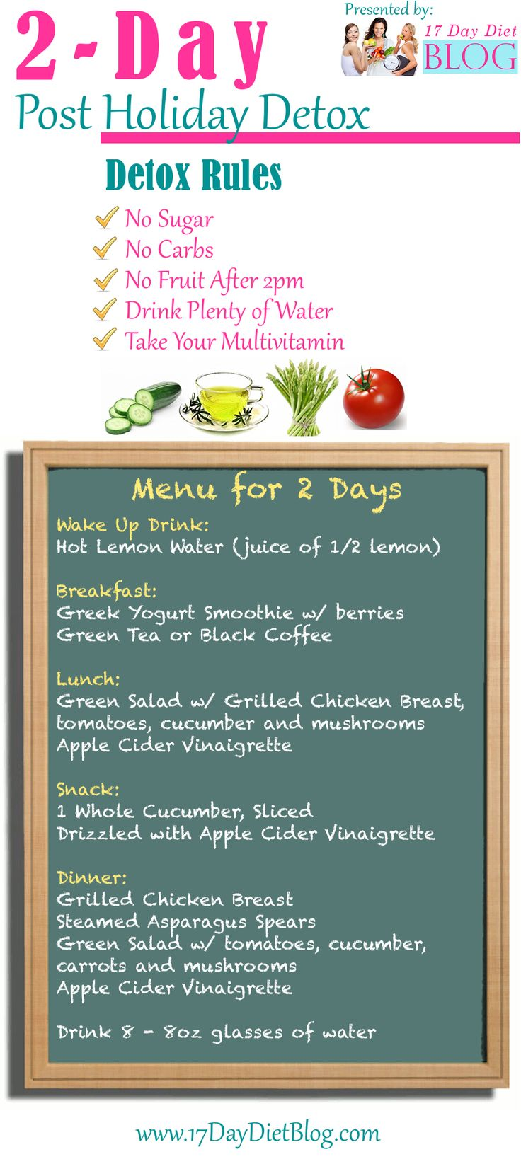 2-Day Post Holiday Detox perfect for losing those stubbord pounds from holiday feasting.  Click here for your free printable download detox plan. #Detox #Cleanse