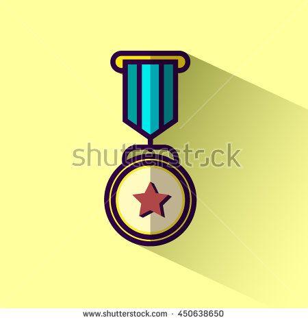 Medallion award winner flat design icon with long shadow. Vector illustration.