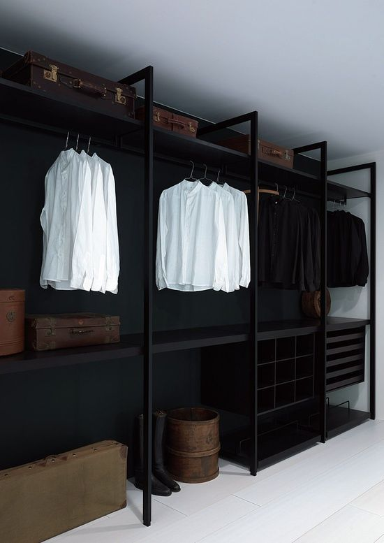 black closet, I like the bars for our walk-in-wardrobe