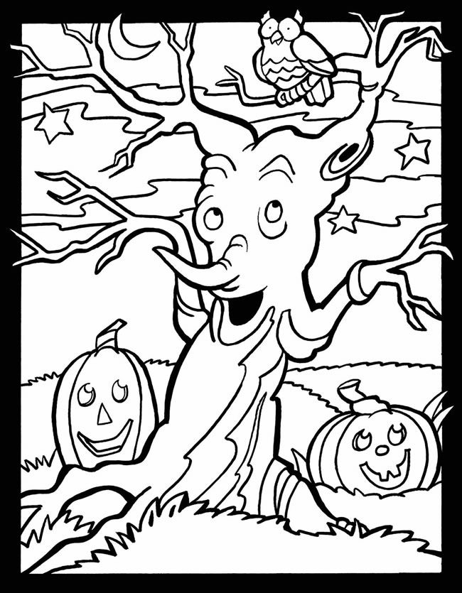 scary halloween tree coloring pages - photo#17