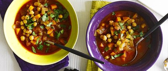 Fiery chickpea and harissa soup. 188 cal