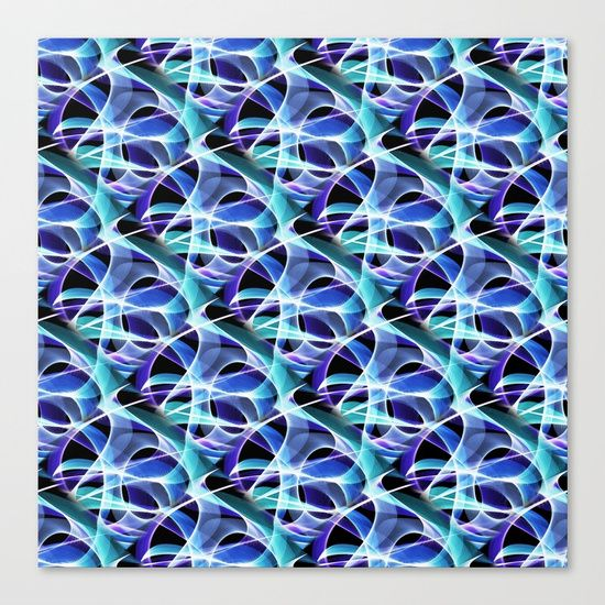 """Waves Pattern on Black Canvas Print by Terrella.  Fine art print on bright white, fine poly-cotton blend, matte canvas using latest generation Epson archival inks. Individually trimmed and hand stretched museum wrap over 1-1/2"""" deep wood stretcher bars. Includes wall hanging hardware."""