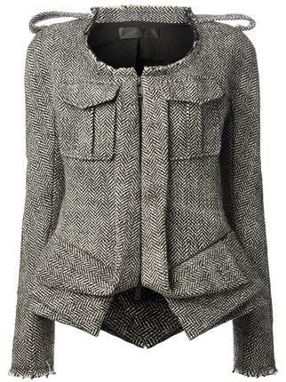 herringbone print jacket, remov