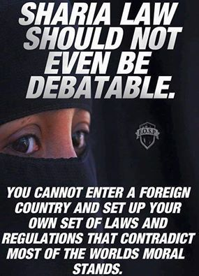 I'll never follow sharia law. I'll only follow the laws as set by America's Founding Fathers. If there should come a time that such leaders of our country surrender to sharia, then I shall join the side of the rebels and remove such men from power and those that wish to destroy my country. ~ RADICAL Rational Americans Defending Individual Choice And Liberty