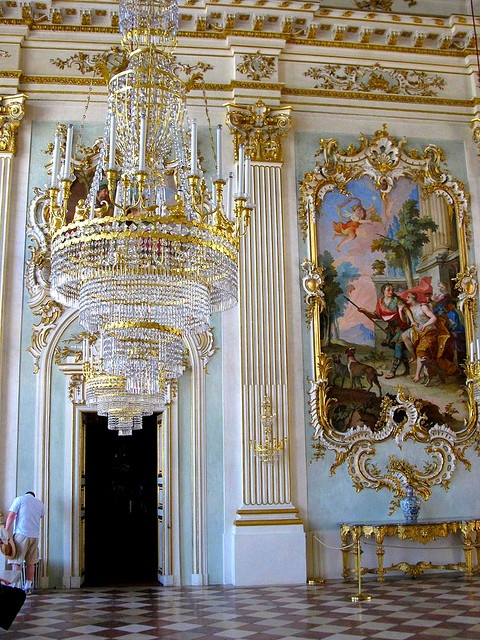 Nymphenburg Palace, Germany - Under Elector Maximilian III Joseph (reigned 1745-77), the Great Hall at Nymphenburg Palace acquired the opulent decoration that can be admired today. Here Johann Baptist Zimmermann, together with François Cuvilliés the Elder, created a major work of Munich court Rococo.