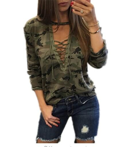Sagace Camouflage Print Women Long Sleeve Slim T-Shirt Fashion V-Neck Lace-up Lady Sexy Tops Army Style Casual Female TShirt Tee