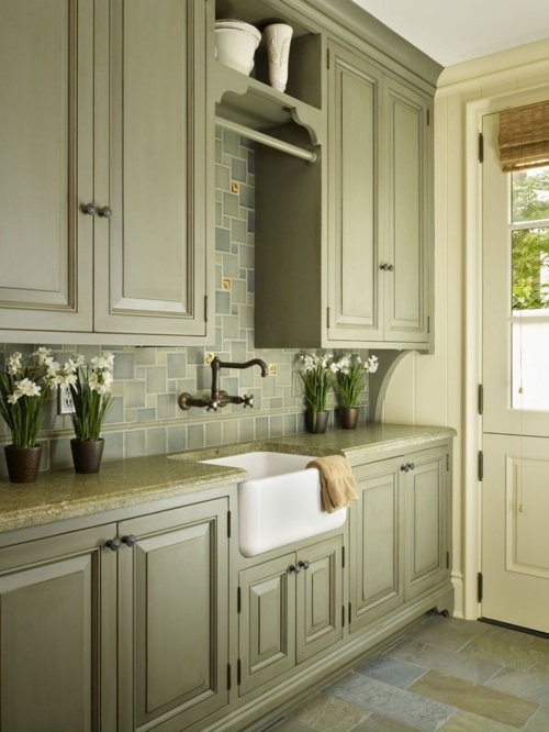 amusing green kitchen paint colors white cabinets | Great blending of colors on cabinets, floor, and back ...
