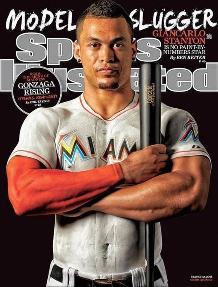 Miami Marlins slugger Giancarlo Stanton poses for the latest Sports Illustrated cover.