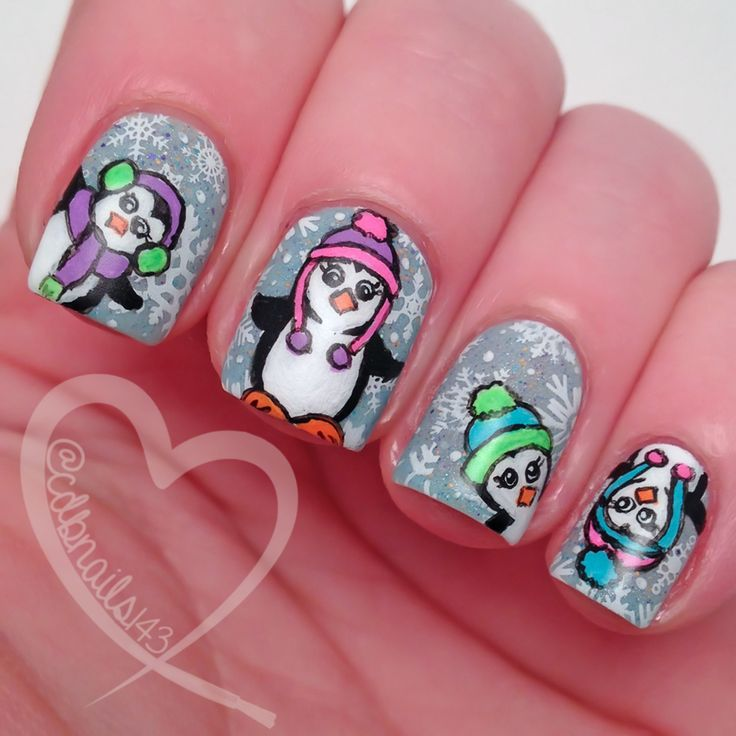 cdbnails: Nail Art Challenges - Pale Blue & Animals ... winter scene with penguins