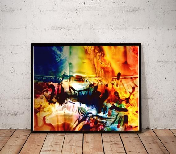 Paintings For Living Room High Chairs Abstract Art Print Psychedelic Painting Colorful Large Wall Contemporary Trippy Modern Psychedelia 5 In 2019 Products