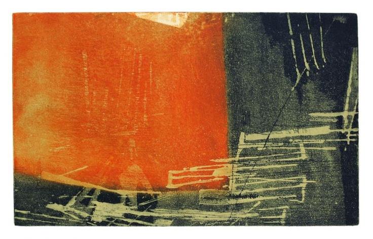 Untitled (1959) by Polish-born, Brazilian-based artist & printmaker Fayga Ostrower (1920-2001). Aquatint & etching on paper. via entretenimento uol