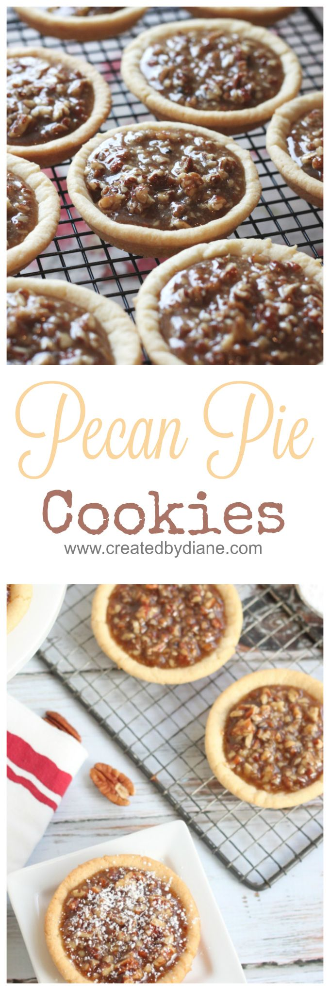 These NOT to overly sweet pecan pie cookie will be the HIT at your next gathering. A fun alternative to pecan pie, with a chewy slightly toffee quality in the filling topped onto deep dish sugar cookies