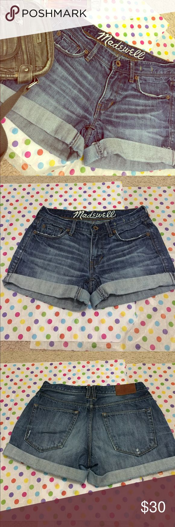 "Size 24 Madewell Shorts These are a pair of simple yet cute Madewell denim shorts. They have some fraying under the cuffs, which can be revealed by unrolling the cuffs, or hidden by rolling the cuffs. The word ""Madewell"" is cracked from washing, but that is the only flaw. Madewell Shorts Jean Shorts"