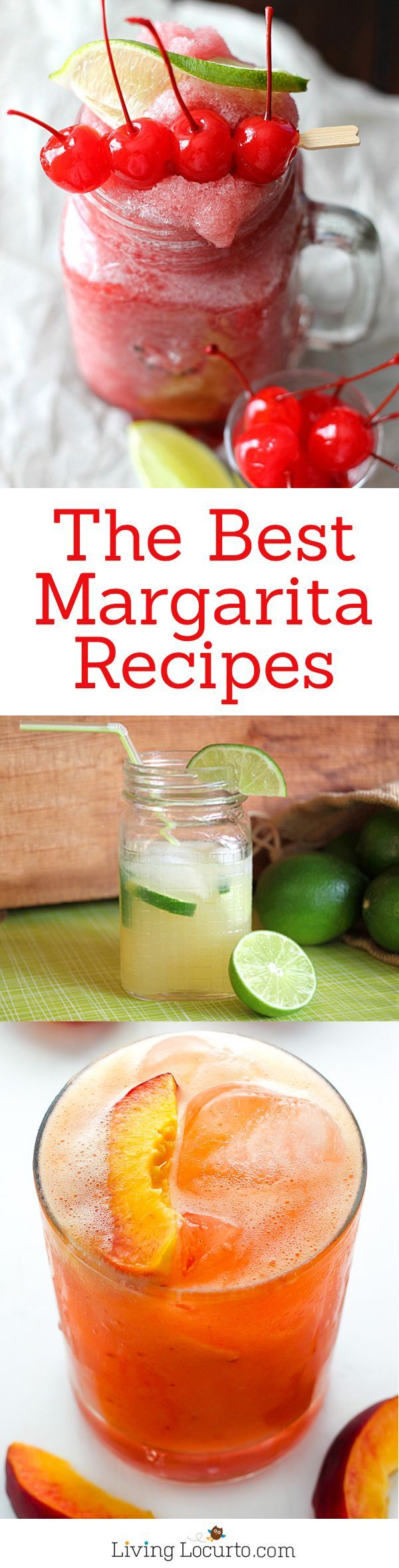 The Best Margarita Recipes ever! From Strawberry and Blackberry to Pineapple and Coconut, you'll find a frozen cocktail perfect for party drink or a hot summer day! LivingLocurto.com. Yummmm