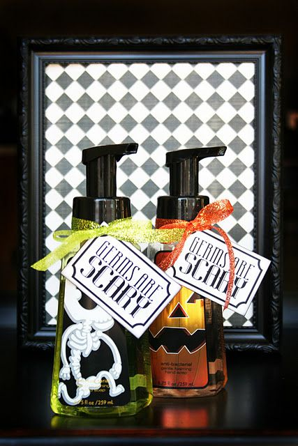 Halloween Soap gifts...I had labels with this quote made up...compliments of Vistaprint.  So cute for A to give to her teachers!