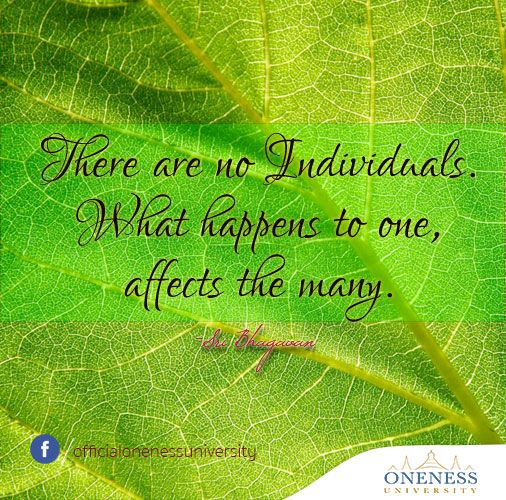 There are no individuals. What happens to one, affects the many. -Sri Bhagavan