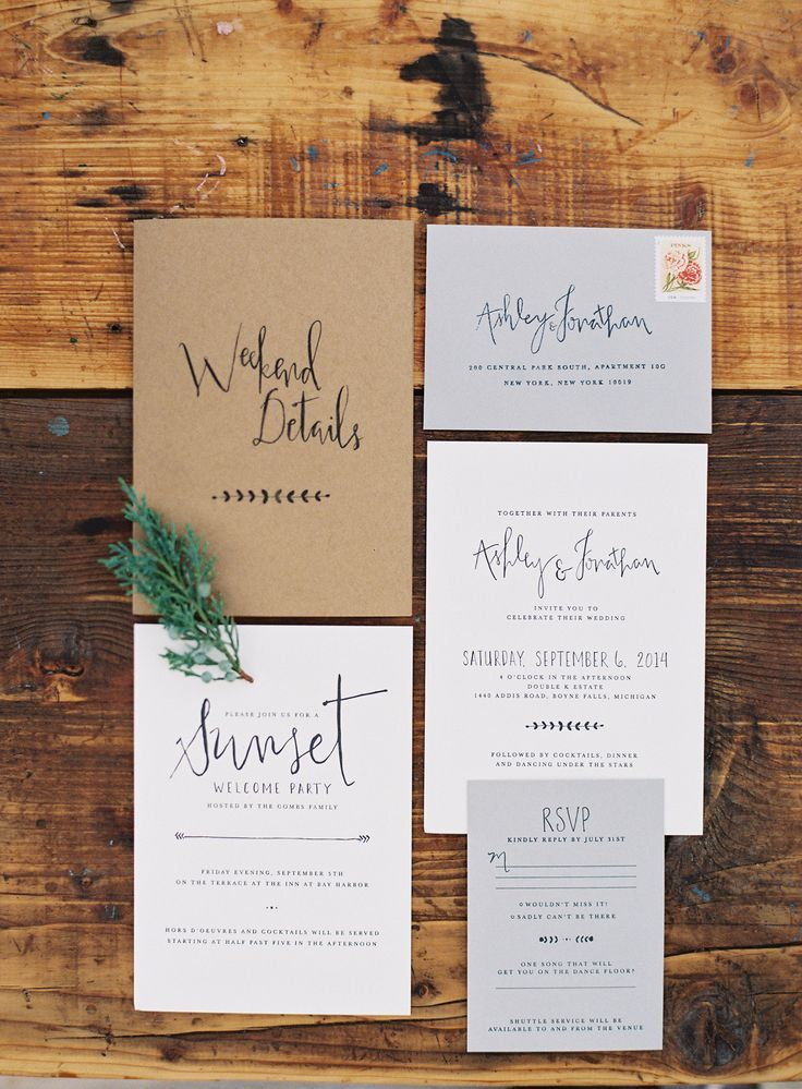 Rustic invitation suite. Love this hand lettering