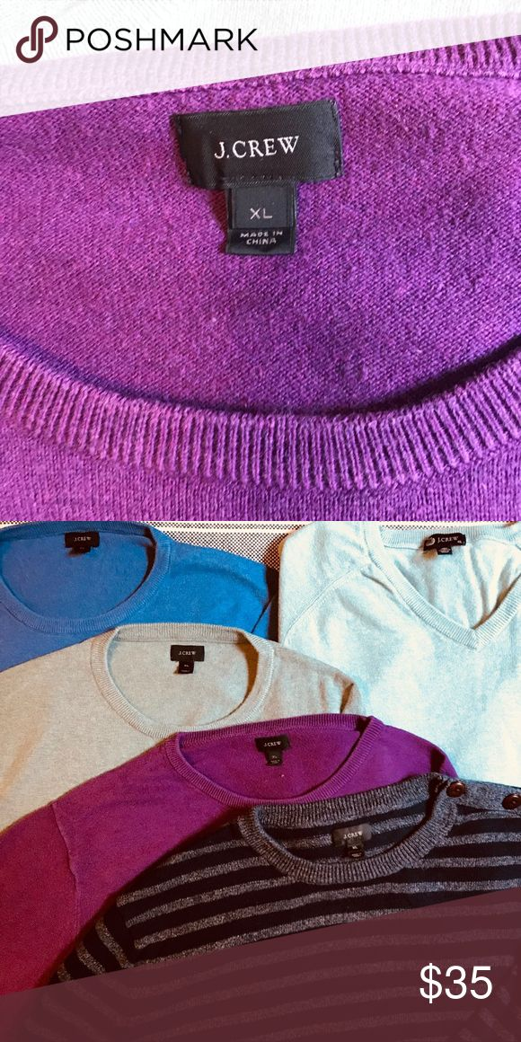 J. Crew Purple Men's Crewneck Sweater (XL) Sweater Sale! Add this purple sweater to a bundle with one or more J. Crew sweaters to receive a special discount! J. Crew Sweaters Crewneck