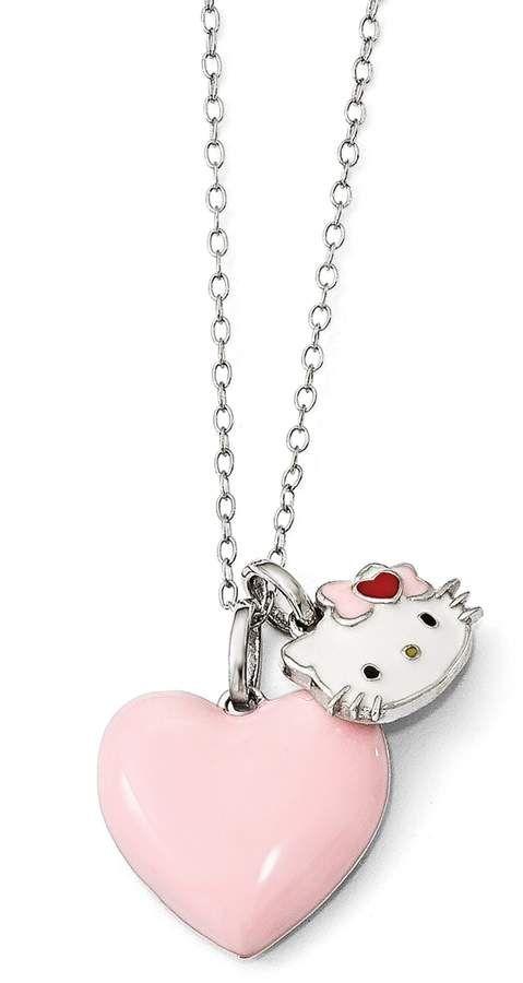 0d7c7e412 Sterling Silver Heart Bow Enamel Charm Pendant Necklace #bow#Kitty#pendant