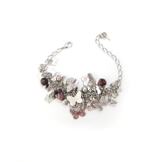 Bracelet Papillon Pampilles en métal argenté, cristaux Swarovski et pierres fines Rhodonite en vente sur mon e-shop Etsy - 30€ ©VisionOfJewels by ThierryRégnier