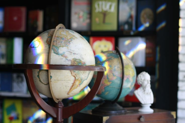 Oxford Exchange Bookstore | Vintage Globes on Display