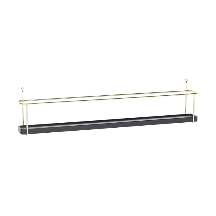 Black and brass oak shelf with metal holder. Product number: 940202 - Designed by Hübsch