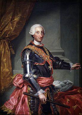 Carlos III de España (1759-88), llamado «el Político»b o «el Mejor Alcalde de Madrid» (Madrid, 20 de enero de 1716-ibídem, 14 de diciembre de 1788), fue duque de Parma, Plasencia y Castro —como Carlos I— entre 1731 y 1735, rey de Nápoles —como Carlos VII— y rey de Sicilia —como Carlos V— de 1734 a 1759 y de España desde 1759 hasta su muerte.