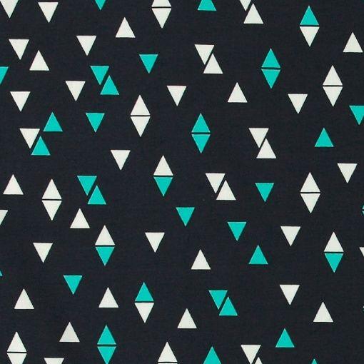 Stretch jersey navy with triangles - Stoff & Stil