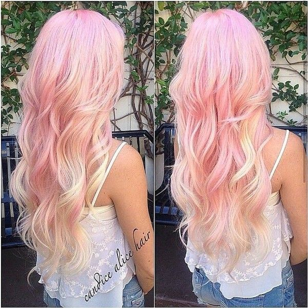 Top 25 Hottest Blonde to Pink Ombré Hair Colors Hair Colors Ideas ❤ liked on Polyvore featuring hair