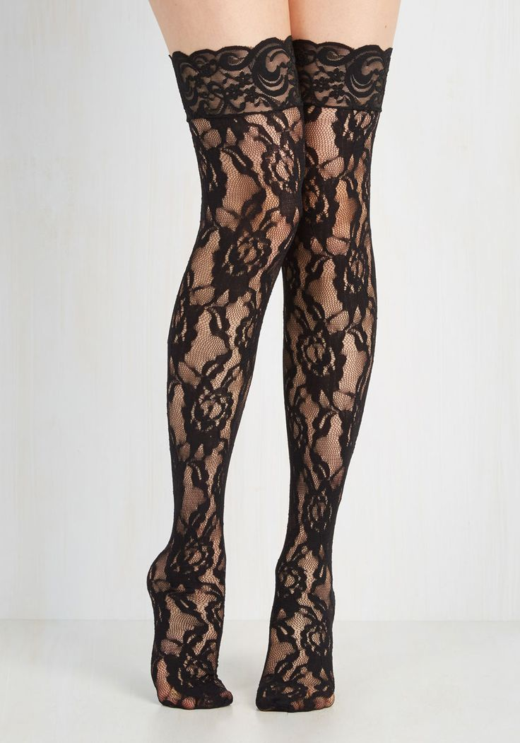 In Lace, In Love Thigh Highs – Black, Floral, Lace…