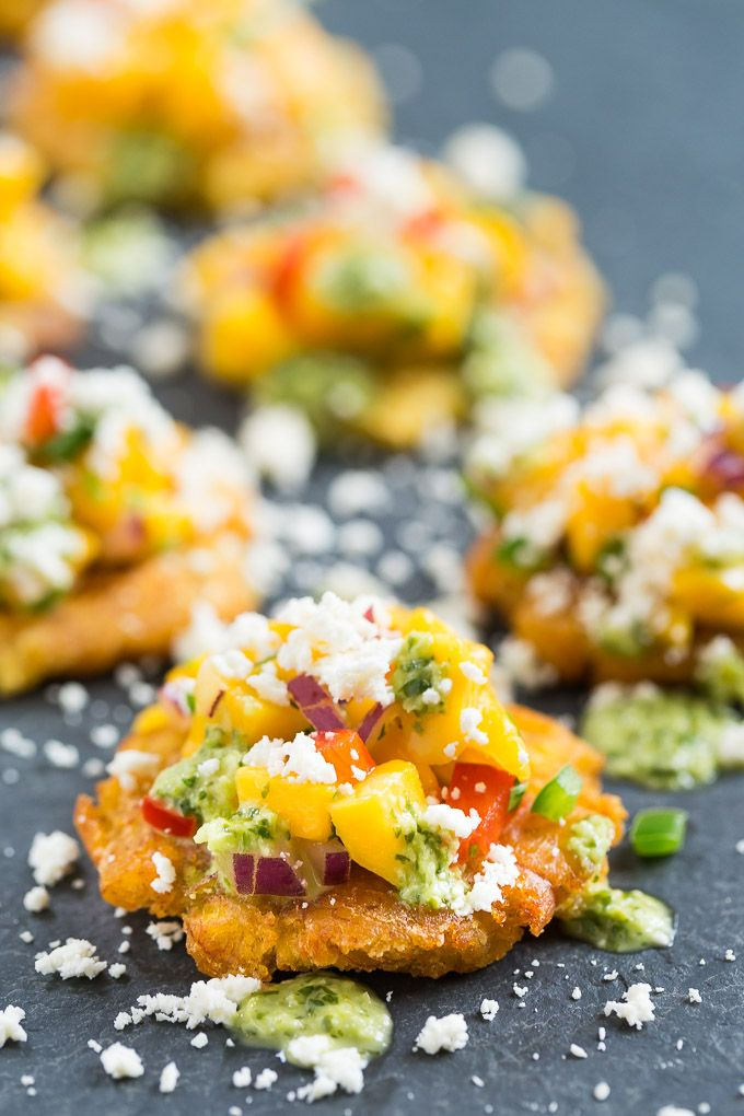Tostones with Mango Salsa and Cilantro Chimichurri.
