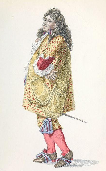 Mr Jourdain in The Middle-Class Gentleman, by Molière, drawn by Edmond Geffroy. From Œuvres Complètes de Molière (The complete works of Molière), Paris, 1871.  Via archive.org.